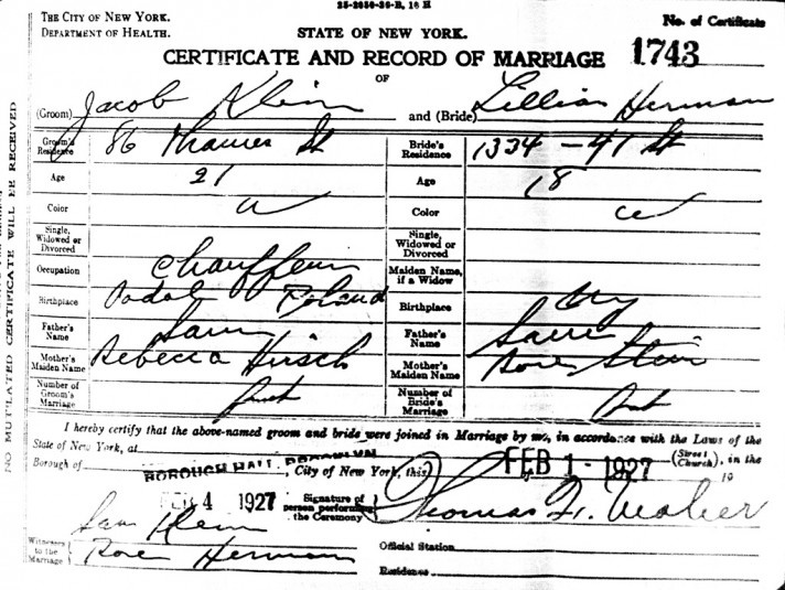 Jack and Lillians Marriage Certificate