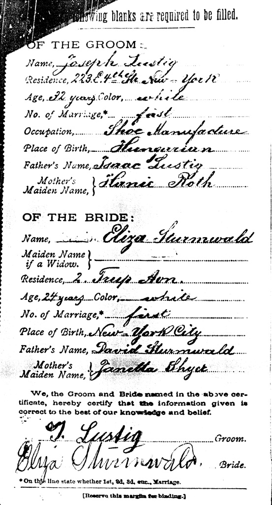 Joseph and Elizas Marriage Certificate p2