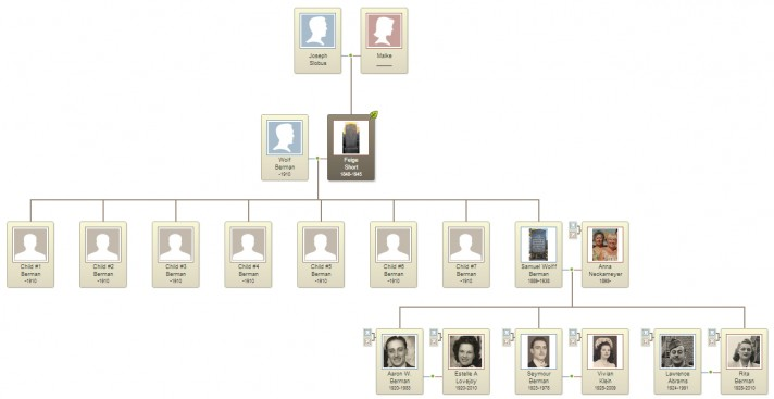 Family tree of Feige Slobus (Short) Berman