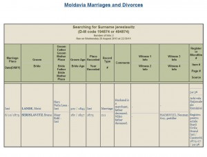 Moses Landes and Bertha Brauna Yeruslavitz, Marriage Record from Iași, via JewishGen