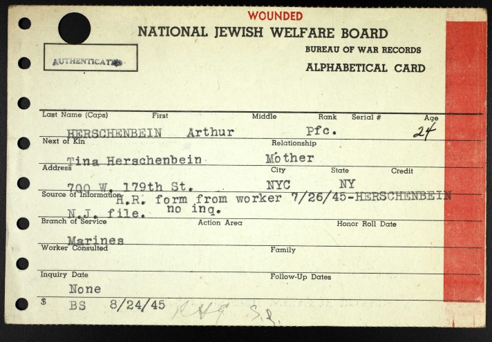 Arthur Hirshenbein, wounded in action