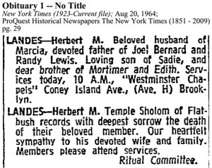 Herbert Landes Obituary [New York Times]