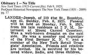 Joseph Landes Obituary [New York Times]