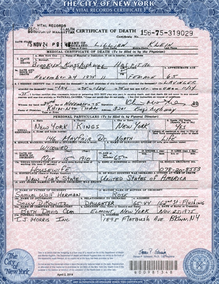 Lillian Herman's Death Certificate
