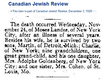 Moses Landes Obituary [Canadian Jewish Review]