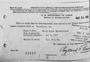 Fanny Hayes Yeruslavitz Certificate of Arrival