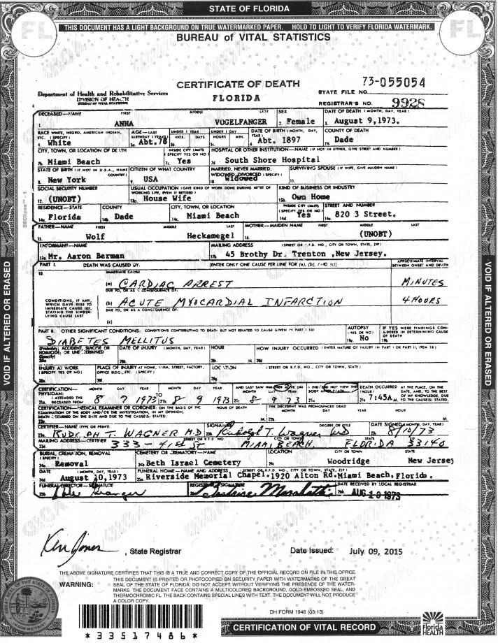 Anna Vogelfanger Death Certificate