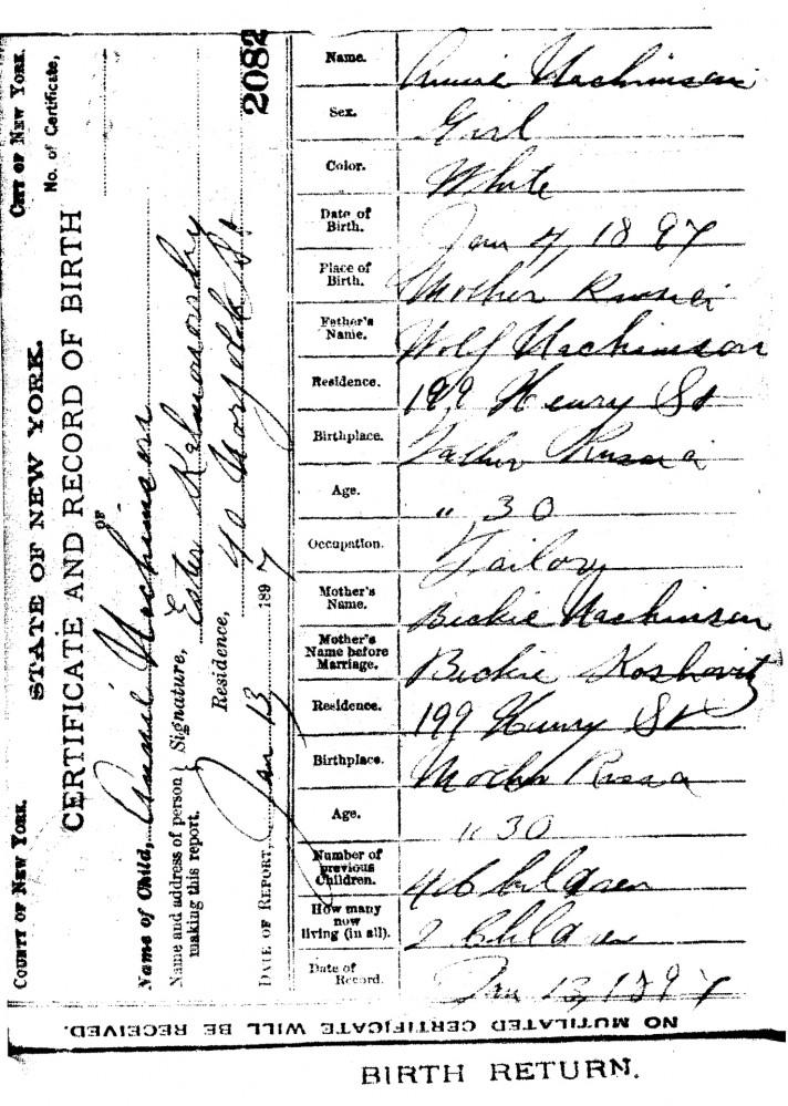 Annie Nachamin Birth Certificate