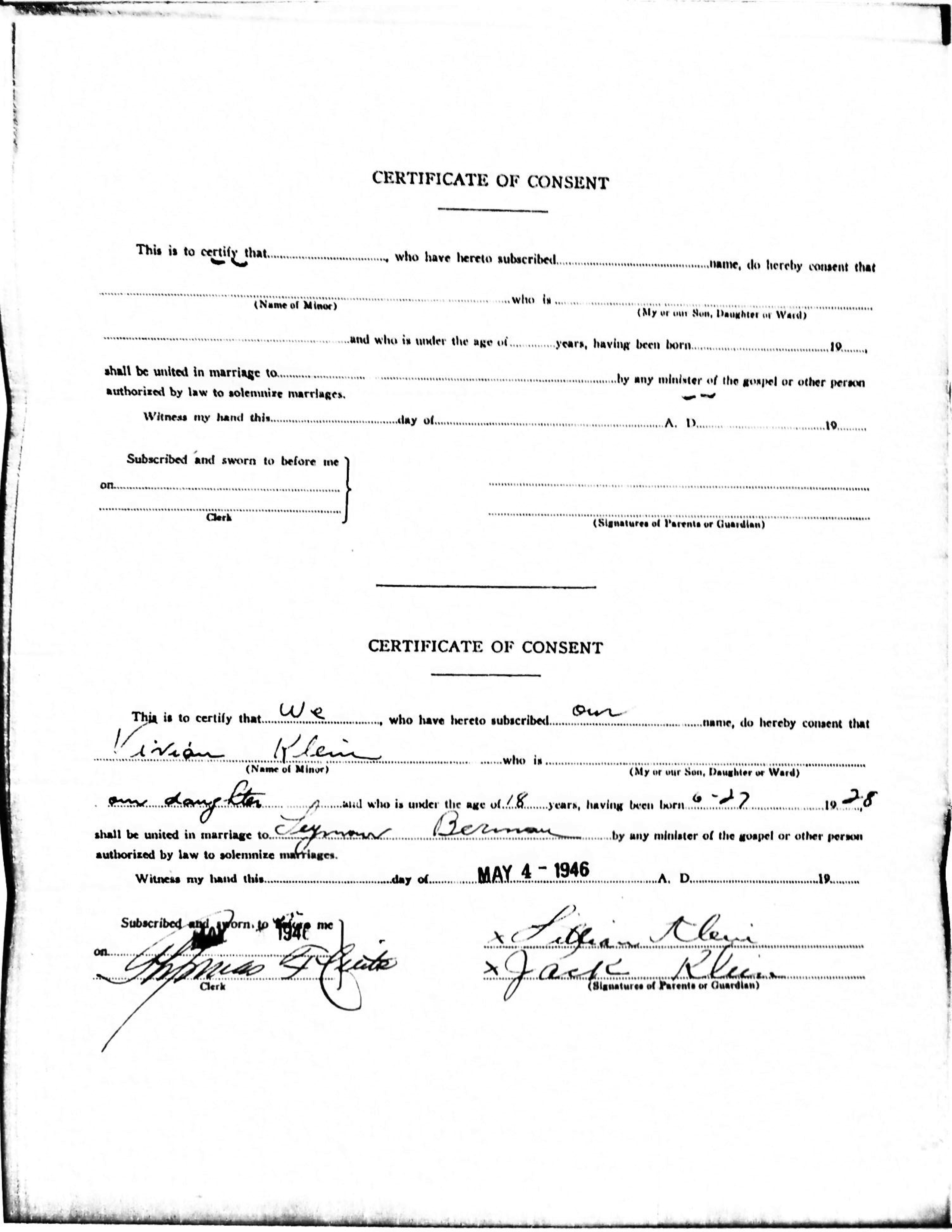 New york city marriage affidavits and licenses cousinist family seymour berman and vivian klein berman marriage certificate of consent 1betcityfo Gallery